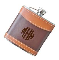 6 oz Block Monogram Flask, Genuine 2-Tone Leather Flask -