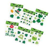 6 St. Patrick's Day Gel Clings; Includes: Shamrock,