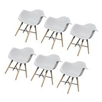 vidaXL 6 White Dining Chairs with Armrests and Beech Wood