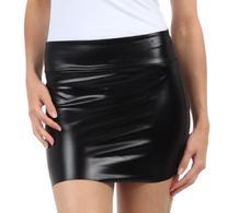 Sakkas 6924 Women's Shiny Metallic Liquid Mini Skirt - Black