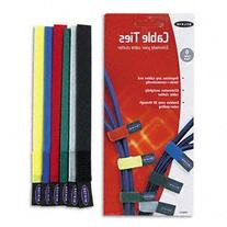6pk 8in Velcro Cable Ties - Red/Blue/Grn/Ylw/Blk/Gry Rohs