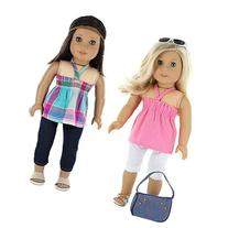 7 Pc. Casual Everyday Outfit Set Fits 18 Inch Doll Clothes