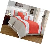 7 Pieces Luxury Coral Orange, Beige and White Quilted
