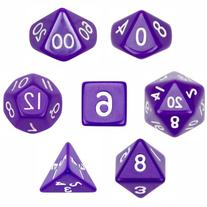 7 Die Polyhedral Dice Set - Solid Purple with Velvet Pouch