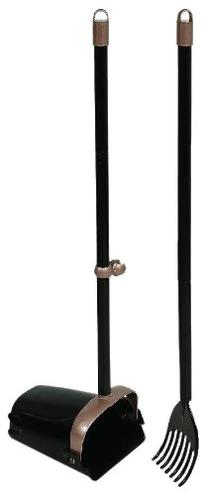Arm & Hammer 71034 Swivel Bin and Rake, Black/Penny