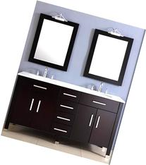 72 Inch Espresso Double Basin Sink Bathroom Vanity Set- ""