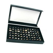 New 72 Ring Black Jewelry Box Display Case Magnetic Lid