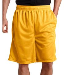 "Badger 7219 Unisex Adult 9"" Mesh Shorts With Pockets Gold"