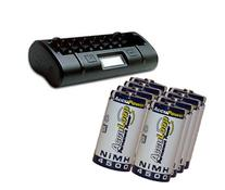 8 Bay Professional Battery Charger W/ Lcd + 8 C 4500 Mah
