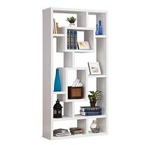10-Shelf Rectangular Bookcase White