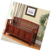 Linon Home Decor 83985WAL-01-KD-U Cynthia Storage Bench-