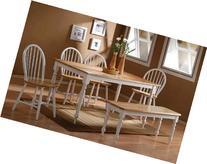 Boraam 86369 Farmhouse 6-Piece Dining Room Set, White/