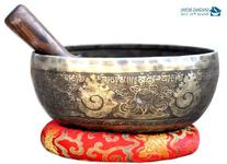 "9""Fine Etching Hand made singing bowl with cushions and"