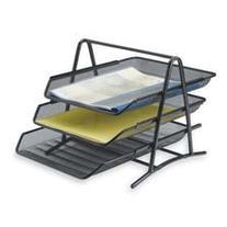 Sparco 90206 3-Tier Steel Mesh Desk Tray, Black