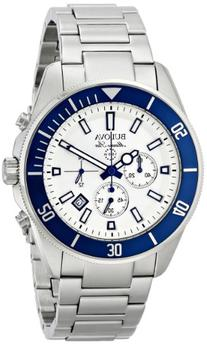 Bulova Men's 98B204 White Stainless Steel Watch with Link