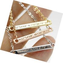 A Coordinate bar Necklace Customized Diamond Engraving 16k