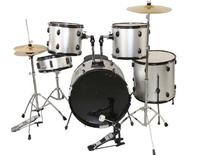 ALL-IN-ONE 5 PIECES ADULT DRUM SET CYMBALS FULL SIZE SILVER