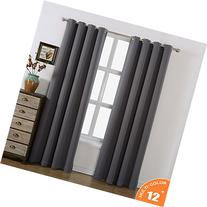 AMAZLINEN 52x84-Inch Grommet Top Blackout Curtains with Tie