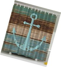 Ambesonne Nautical Anchor Rustic Wood Long Fabric Shower
