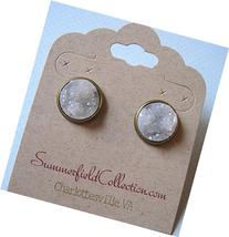 Antiqued Gold-Tone Stud Earrings 12mm Clear Light Gray Faux