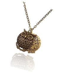Owl Charm Bronze-tone Brass-tone Aromatherapy Necklace