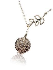 Unique Tree Branch Drop Silver-tone Aromatherapy Necklace