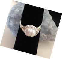 Artisan Wire-wrapped Dainty Freshwater Pearl Ring