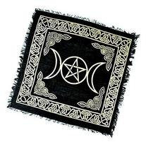 BLACK & GOLD Triple Moon with Pentacle Altar Cloth Tarot
