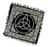 """BLACK & GOLD Triquetra Altar Cloth Tarot Cloth 18"""" X 18"""