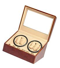BRAND NEW BURL WOOD 4+6 AUTOMATIC QUAD WATCH WINDER 6