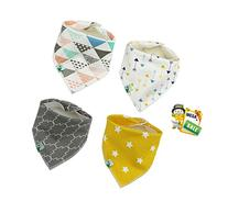 Baby Bandana Drool Bibs, Unisex 4 Pack Cute Bibs with Snaps
