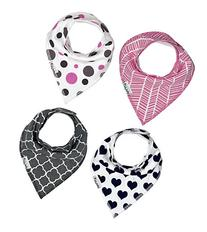 Baby Bandana Drool Bibs With Snaps 4 Pack for Girls Soft