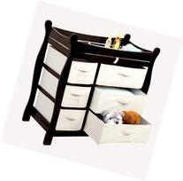 Sleigh Style Baby Changing Table with 6 Storage Baskets and