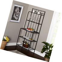 Bakers Rack, 5 Shelf Metal Kitchen Storage Stand, Black