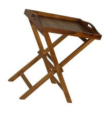Bare Decor Kalos Outdoor Solid Teak Wood Tray Table, 30-Inch