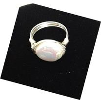 Beautiful White Coin Cultured Freshwater Pearl Artisan Wire-