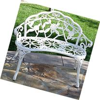 Belleze Rose Style Love Seat Bench White Cast Iron Antique