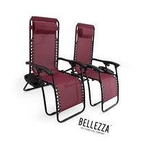 Belleze 2PC Zero Gravity Chair Lounge Seat UV Resistant Cup