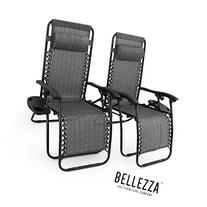 Belleze Premium Patio Chairs Zero Gravity Folding Recliner