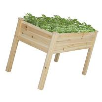 Best Choice Products 46x22x30in Raised Wood Planter Garden