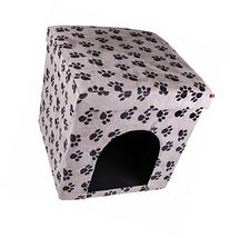 Black and White Pawprints Cat House Collapsible Ottoman Foot