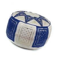 Blue and white leather Fassi pouffe