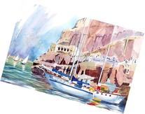 Boats At Santorini, Giclee Print of a Watercolor Seascape,