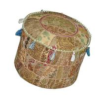 Bohemian Patch Work Pouf Ottoman,Traditional vintage Indian