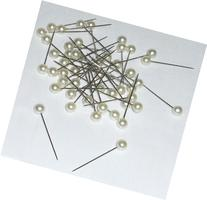 Box of 48 Corsage Wedding Sewing Straight Pins w/ Large Faux