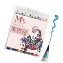MozArt Supplies Brush Pens Set - 12 Colors - Soft Flexible Real Brush Tip Marker Pens, Durable, Premium Grade - Create Watercolor Effect - Ideal for