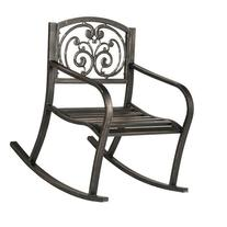 Cast Iron Powder Coated Outdoor Patio Rocking Chair: Ivory