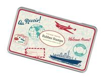 Cavallini Rubber Stamps Vintage Travel with Assorted Wooden