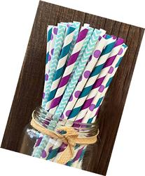 Charmed Mermaid theme Purple, blue and teal paper straw in