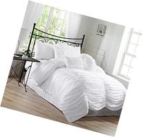 Chezmoi Collection 7-Piece Chic Ruched Comforter Set, Queen